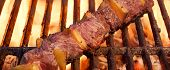 stock photo of bbq party  - Beef Kebab or Shashlik On The Hot BBQ Grill Closeup - JPG