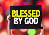 picture of blessed  - Blessed By God card with bokeh background - JPG