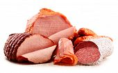 foto of slaughterhouse  - Assorted meat products including ham and sausages isolated on white - JPG