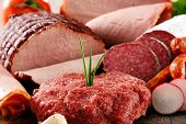 image of slaughterhouse  - Assorted meat products including ham and sausages - JPG