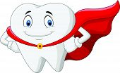picture of tooth-fairy  - Vector illustration of Happy cartoon superhero healthy tooth - JPG
