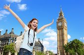 picture of big-ben  - Happy woman travel in London with Big Ben tower caucasian beauty - JPG