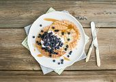 stock photo of maple syrup  - Dutch waffles with cream - JPG