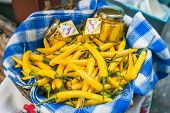 picture of yellow-pepper  - Fresh garden yellow peppers at a farmers
