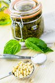 foto of pesto sauce  - Homemade basil pesto sauce with fresh ingredients.
