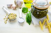 picture of pesto sauce  - Homemade basil pesto sauce with fresh ingredients.