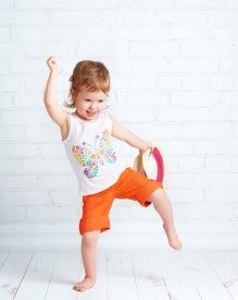 pic of  dancer  - happy beautiful baby girl dancer dancing modern hip hop dance - JPG