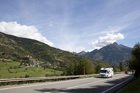 pic of camper  - traveling in the Swiss Alps with the camper - JPG