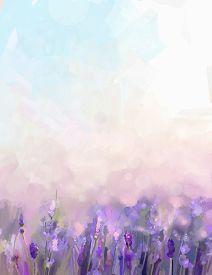 stock photo of violet flower  - Oil painting lavender flowers in the meadows - JPG