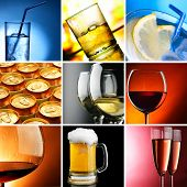 image of assemblage  - Set of different alcohol drinks photos square crop - JPG