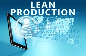 stock photo of waste reduction  - Lean Production illustration with tablet computer on blue background - JPG
