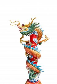 picture of dragon  - Chinese style dragon statue, Chinese Dragon Wrapped around red pole