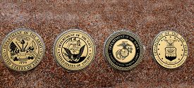 stock photo of marines  - Detail of symbols of USA military army navy airforce marines - JPG