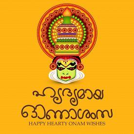 pic of pookolam  - illustration of a colorful  Kathakali face background for Onam celebration - JPG