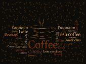 Постер, плакат: Фон кофе с кофе в зернах и написание сортов