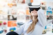 Woman Using Vr Virtual Reality Glasses poster