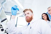 Close Up Portrait Of Young Handsome Red  Bearded Stylish Focused Researcher, Who Is Looking At The B poster