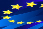 Perspective Flag of European Union. Vector Illustration. No Meshes.