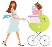 foto of bassinet  - Young attractive pregnant woman shopping for baby stuff - JPG