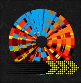 Abstract Multicolored Wheel and Arrow