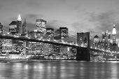 picture of new york skyline  - Brooklyn Bridge and Manhattan skyline At Night - JPG