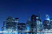 image of new york night  - Manhattan Skyline At Night - JPG