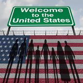 United States Wall And Immigration Border Security For Immigrants Or Illegal Immigrants To America A poster