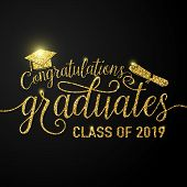 Vector Illustration On Black Graduations Background Congratulations Graduates 2019 Class Of, Glitter poster