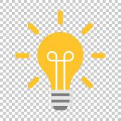 Light Bulb Icon In Flat Style. Lightbulb Vector Illustration On Isolated Background. Lamp Idea Busin poster