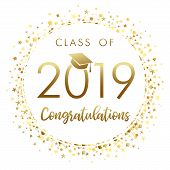 Class Of 2019 Graduation Banner With Gold Glitter Confetti. 2019 Class Of In Academic Cap With Golde poster