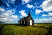 Budakirkja Church In Snaefellsnes Peninsula, Iceland. This Black Church Sits Alone In Budaahraun Lav poster