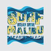 T-shirts Surf, Malibu, Ocean Surfing, T-shirt Inscription poster
