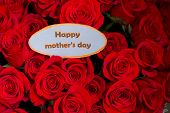 Happy Mothers Day. Card Concept. Red Heart Of Roses With Message.happy Mothers Day.rose Background.  poster