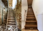 Comparison Of Modern Brown Wooden Staircase In New Renovated Apartment Interior And Old Ladder Stair poster