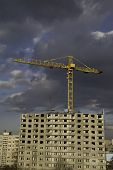 Construction Site On Gloomy Weather poster