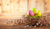 Easter composition with colorful Easter eggs in nest and branches of pussy willows on wooden backgro poster
