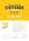 Wall Calendar Template For October 2019. Vector Design Print Template With Typographic Motivational poster