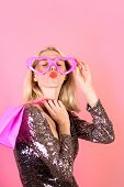 Woman Shopper. Beautiful Girl In Fake Glasses With Shopping Bag. Shopping Girl Sends Kiss. Sale, Sho poster
