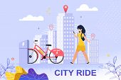 Flat Banner City Ride Red Bicycle Parking Lot. Vector Illustration. Happy Girl In Yellow Dress Walks poster