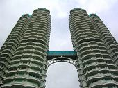 pic of skyway bridge  - Modern skyscraper with skyway between the two towers - JPG