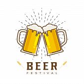 Cheers Mate. Glass Of Beer Isolated Vector Illustration, Minimal Design. Lager Beer Icon On White Ba poster