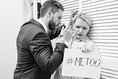 Woman Showing A Note With The Text Me Too. Touch Knee. Movement Against Sexual Harassment. Sexual Ha poster