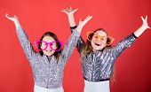 Feeling Joy And Happiness. Happy Small Girls Enjoy Happiness. Little Children Happy Smiling At Party poster