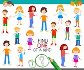 Cartoon Illustration Of Find One Of A Kind Picture Educational Activity Game With Funny Children Cha poster
