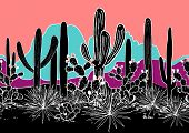 Vector Seamless Pattern With Cacti, And Mountains. Wild Cactus Forest With Agave, Saguaro, And Prick poster