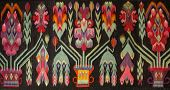 Crafts. Woven Wool Carpet. Folk Art.close Up Of Geometric Patterned Carpet. Hand Woven Rug With Red, poster