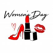 Happy Womens Day Design With Red Kiss Lips, Red Lipstick, Womens Shoe. Makeup Fashion Style. Inter poster