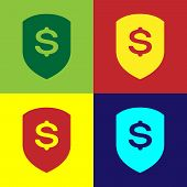 Color Shield And Dollar Icon Isolated On Color Backgrounds. Security Shield Protection. Money Securi poster