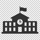 School Building Icon In Flat Style. College Education Vector Illustration On Isolated Background. Ba poster