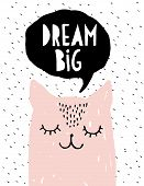 Dream Big - Funny Pink Cat Vector Illustration. Simple Sweet Nursery Art. Pink Dreaming Kitty And Bl poster